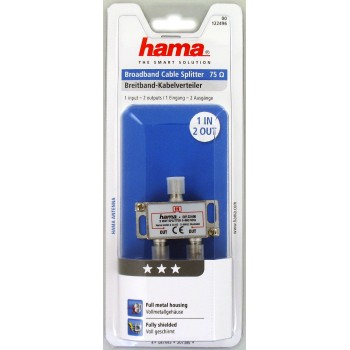 Distributore antenna SAT 1F//2F schermato 5-860 MHz Hama corpo metallico 2 vie